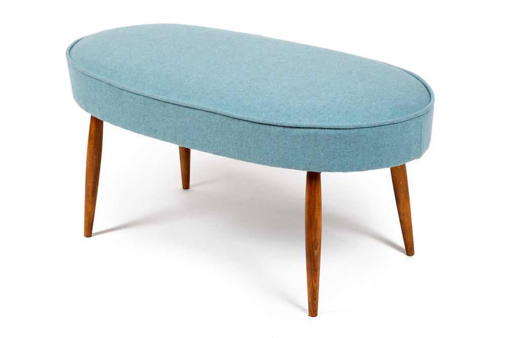 Oval blue mid century style footstool in Isle Mill