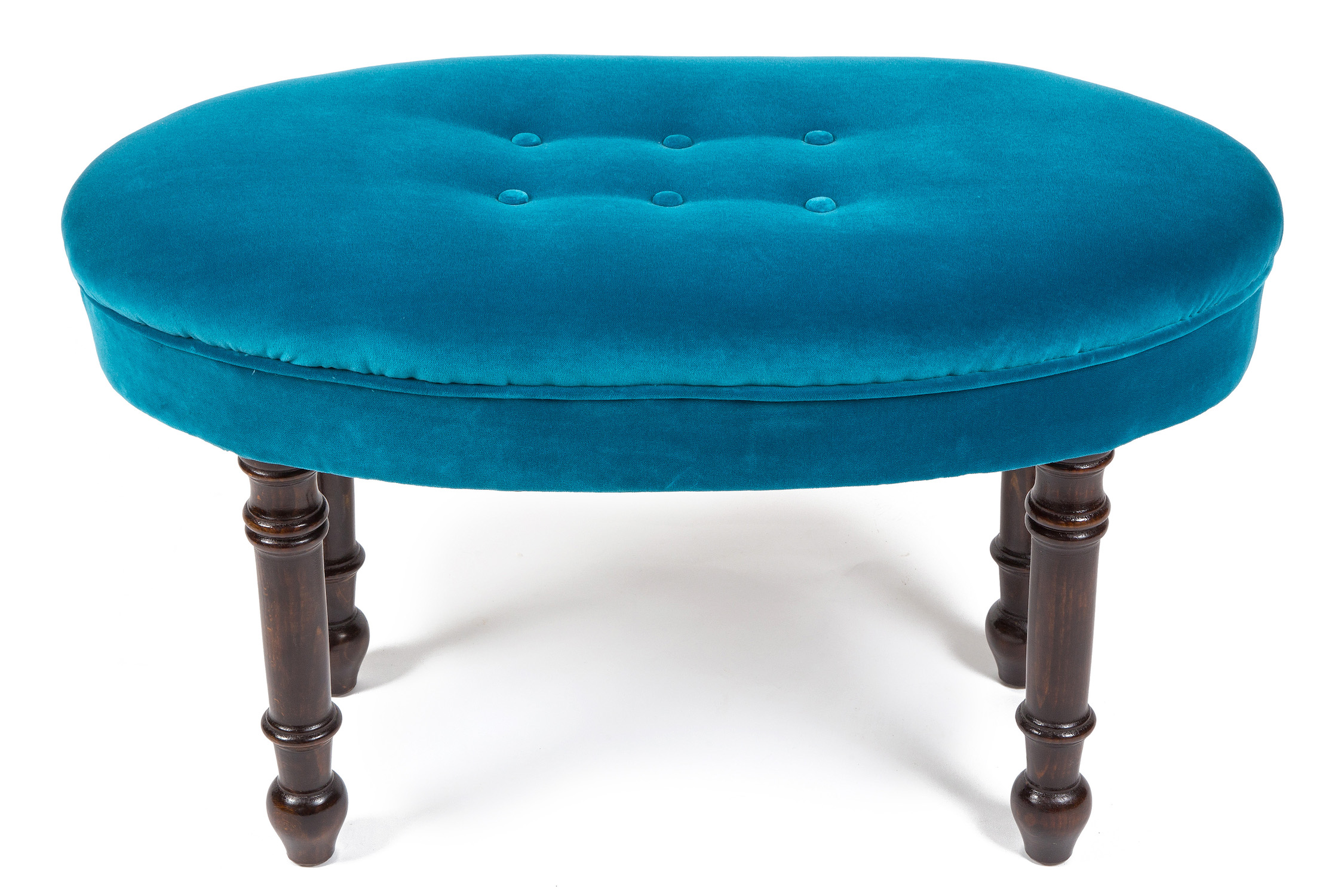 Oval Roll Top Piano Stool with Buttons and Turned Legs