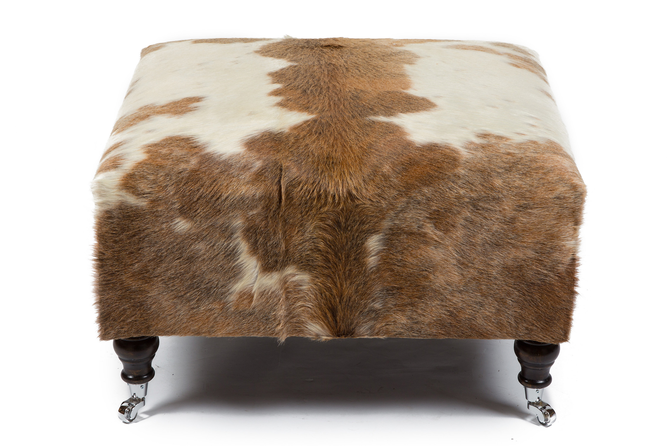 Medium Bordered Wrapover Stool in Cowhide with Chrome Castors