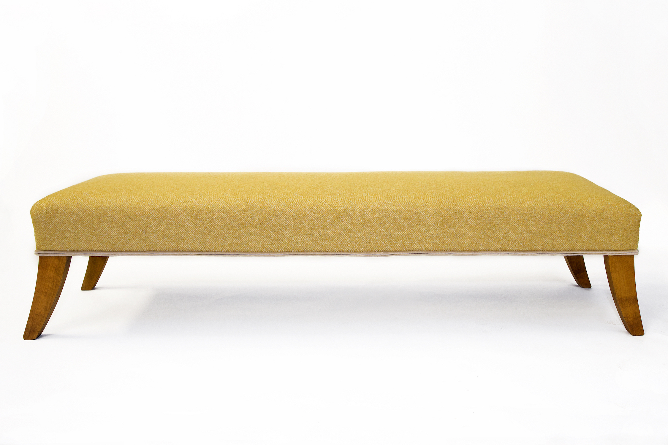 Rectangular Wrap-over Footstool with Double Piping Trim and Sabre Legs