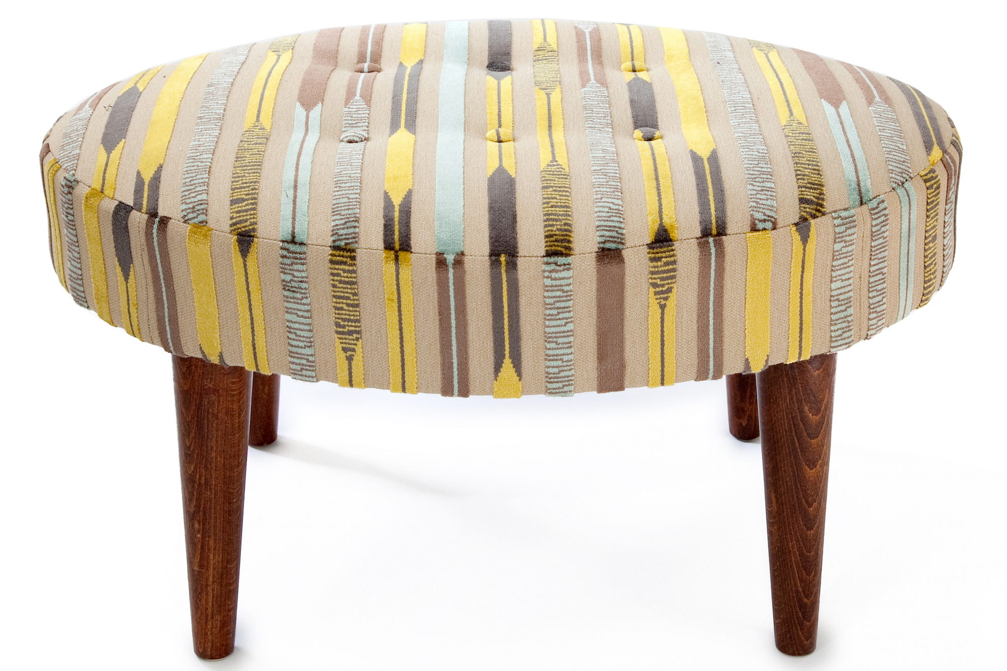 Oval Bordered Footstool with 6 float Buttons and Round Tapering Legs