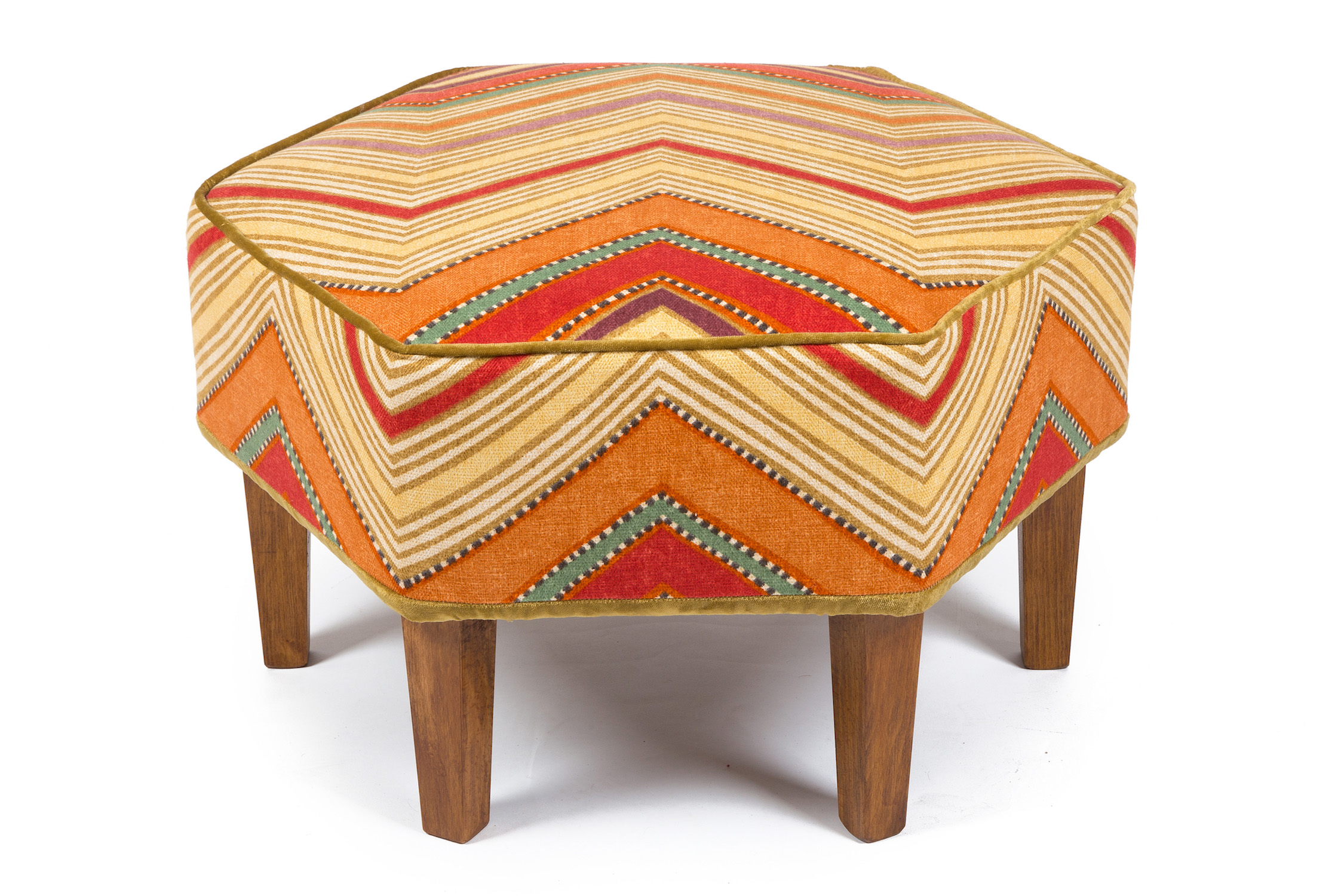 Hexagonal Bordered and Piped Footstool with Square Tapering Legs