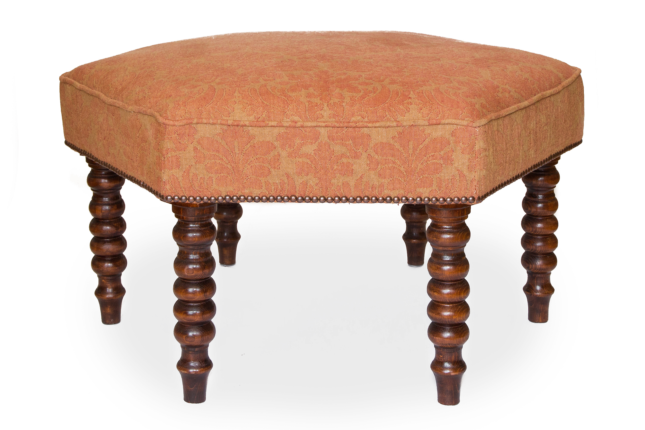 Hexagonal Bordered and Piped Footstool with Bobble Legs and Antique Nailing