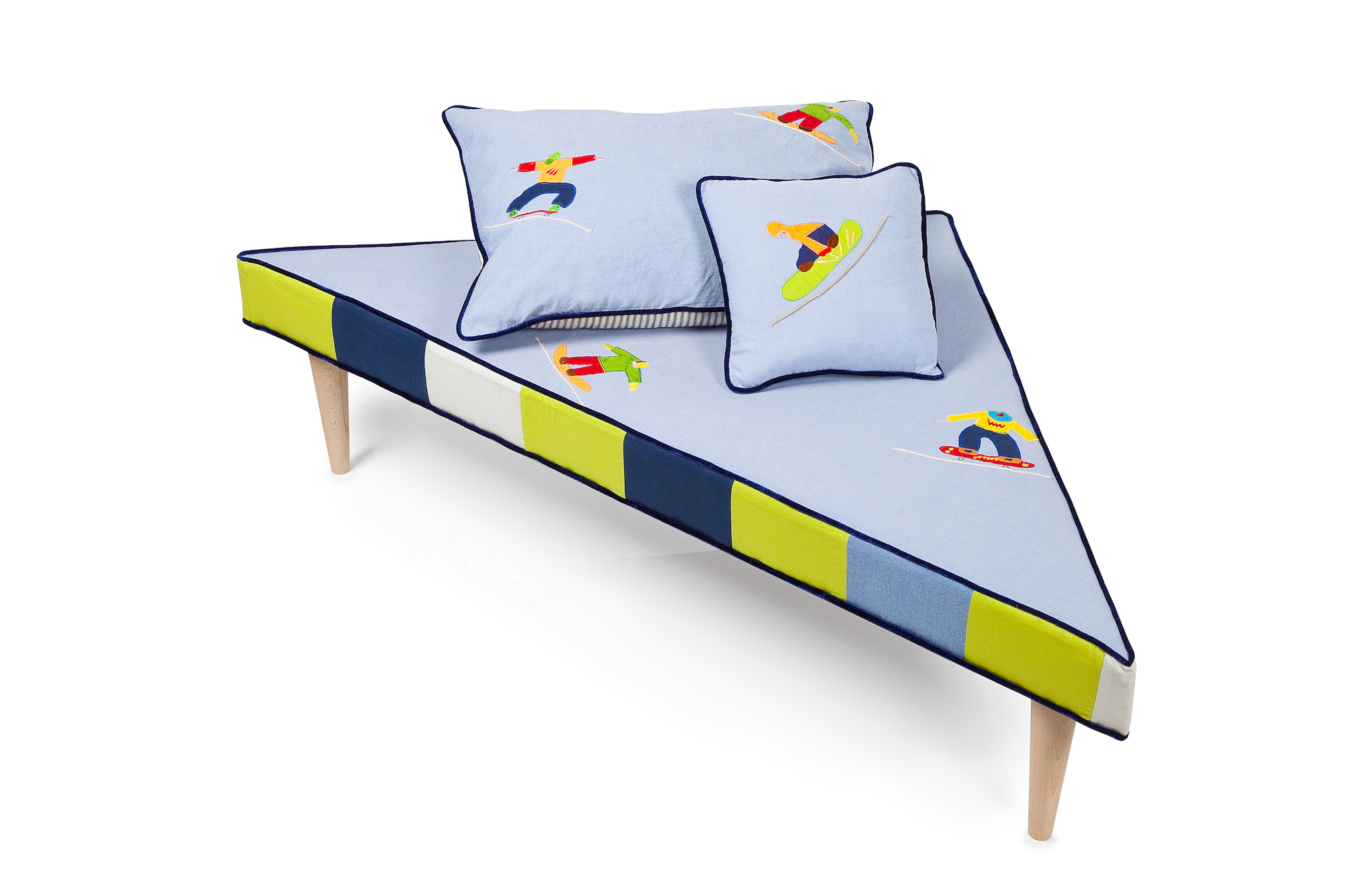 Triangular Skateboard Footstool with matching Cushions