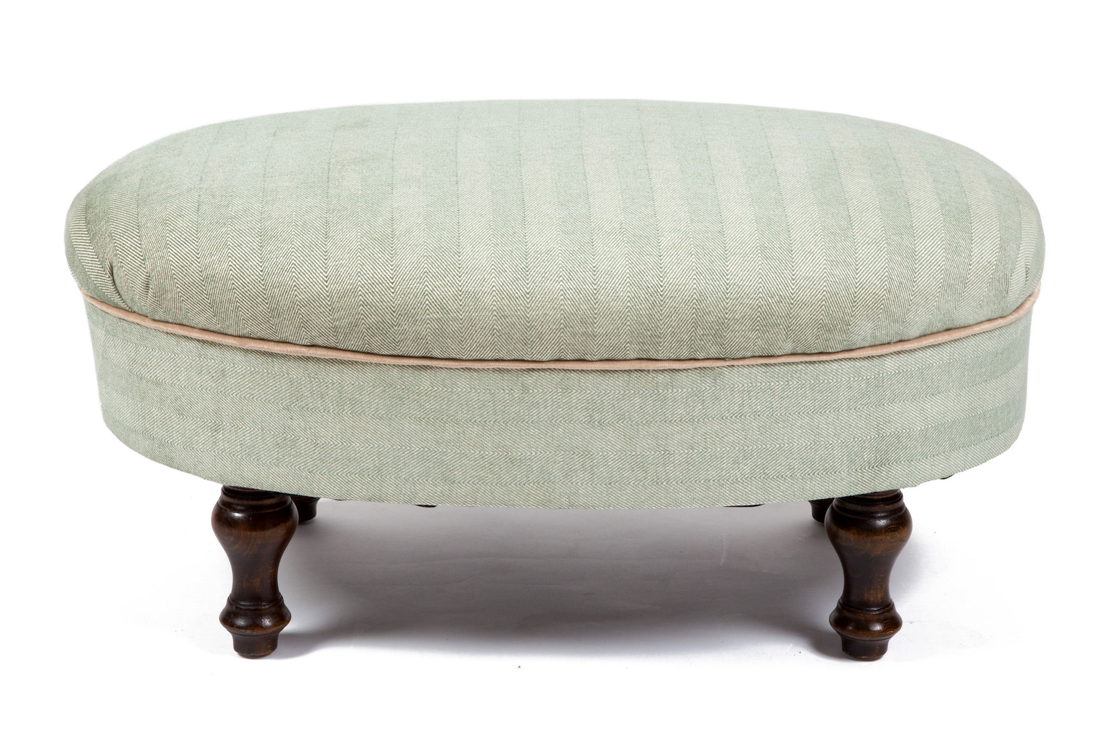 Oval Roll Top Medium Bordered Footstool with Turned Legs