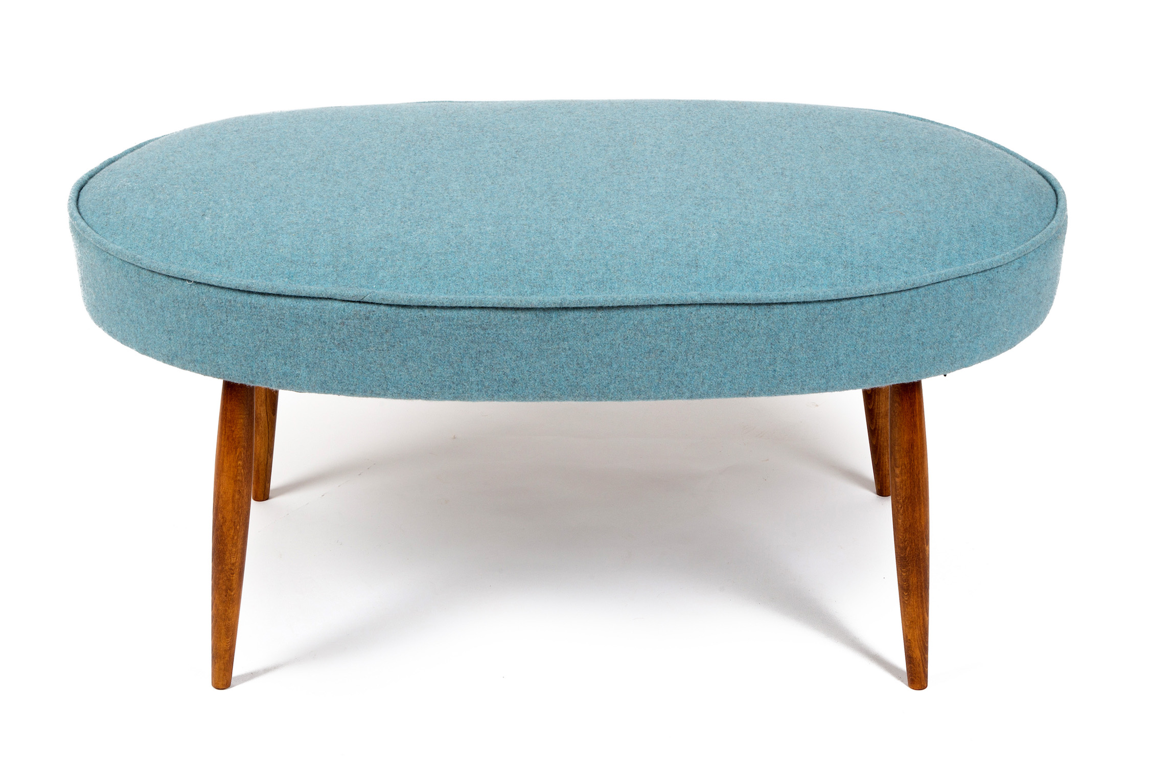 Oval Bordered and Piped Footstool with Mid-Century Style Legs