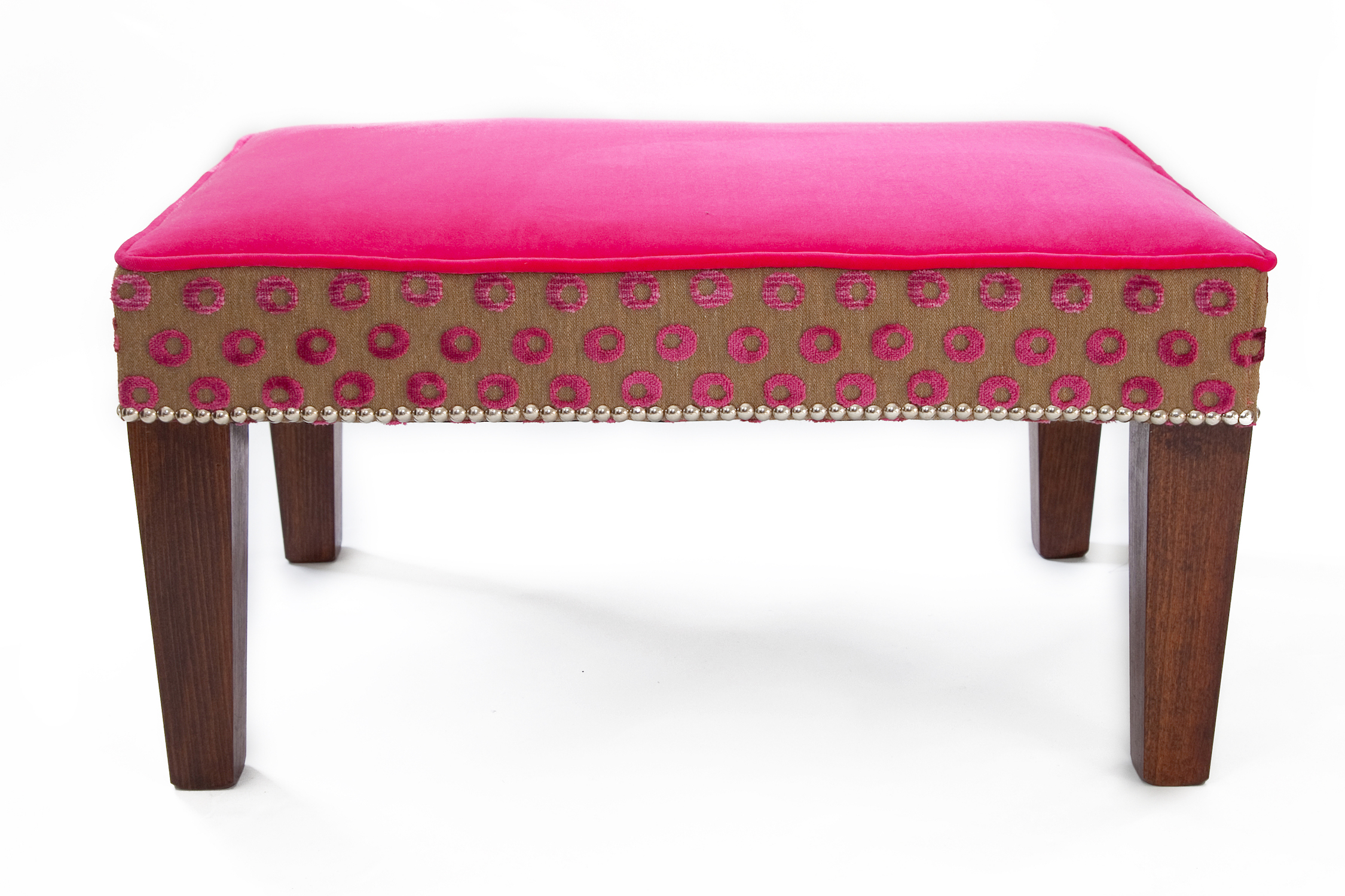 Rectangular Footstool Bordered and Piped with Chrome Studs