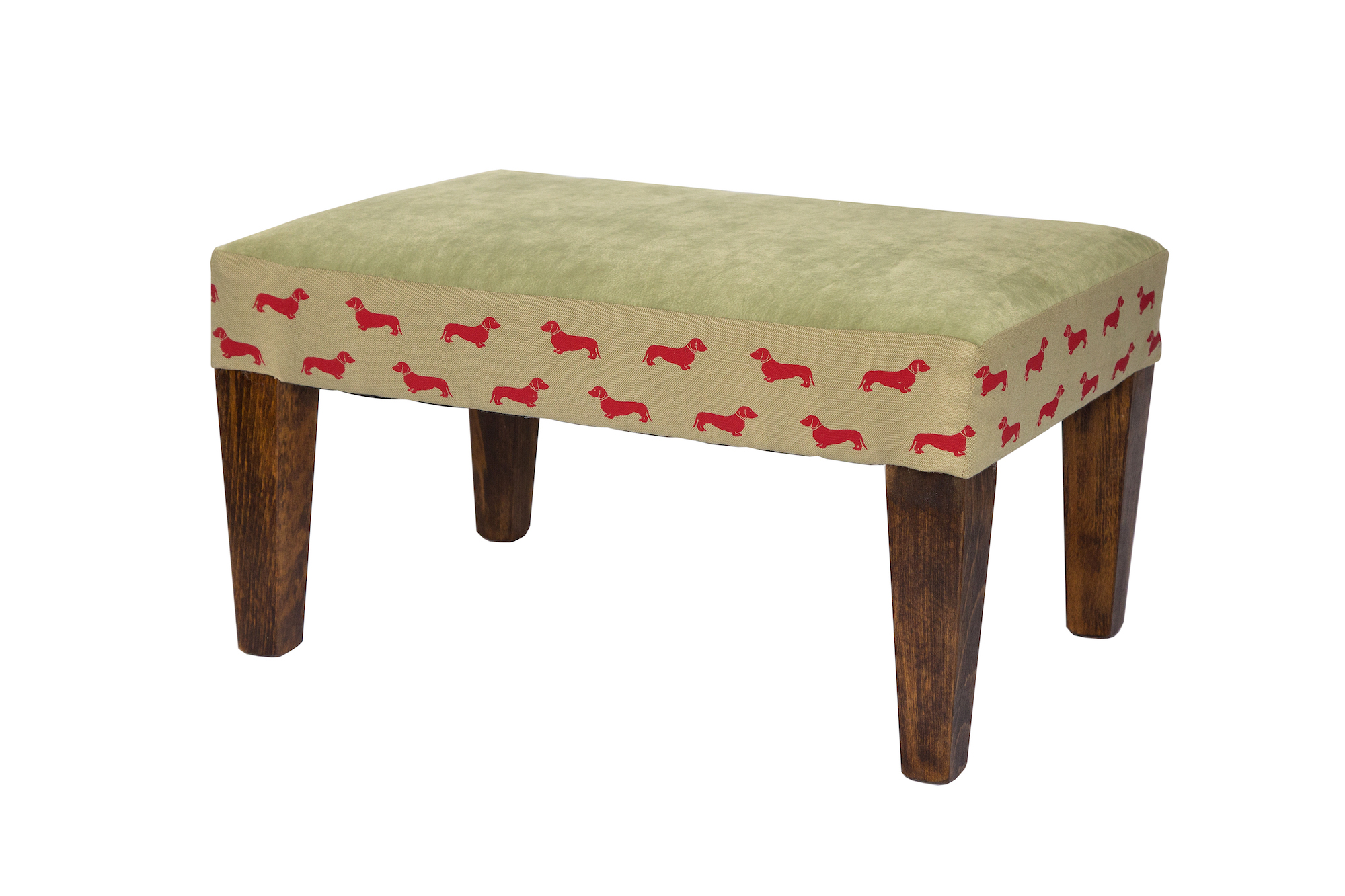 Green with red sausage dog print footstool