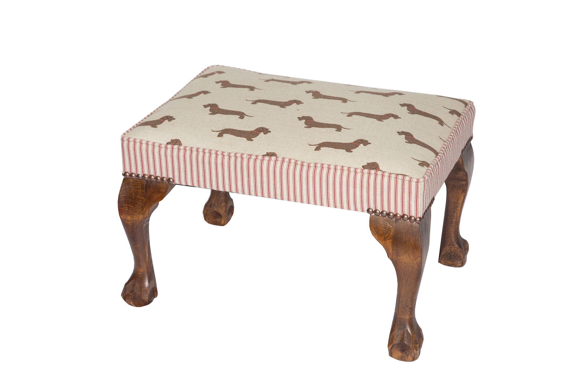 Doggy Footstool with Contrast Ticking