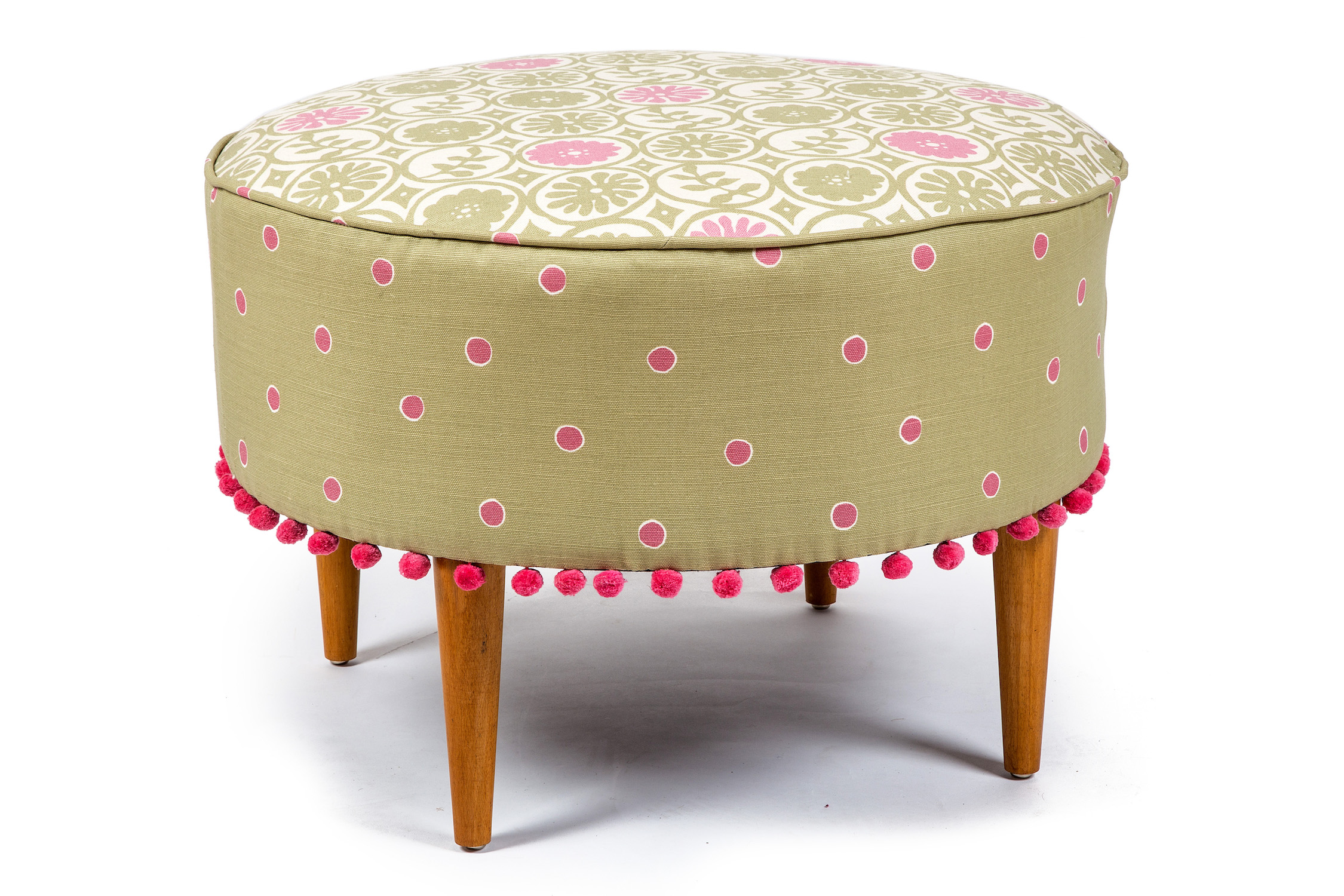 Round  Bordered Piped Footstool with Bobble Trim