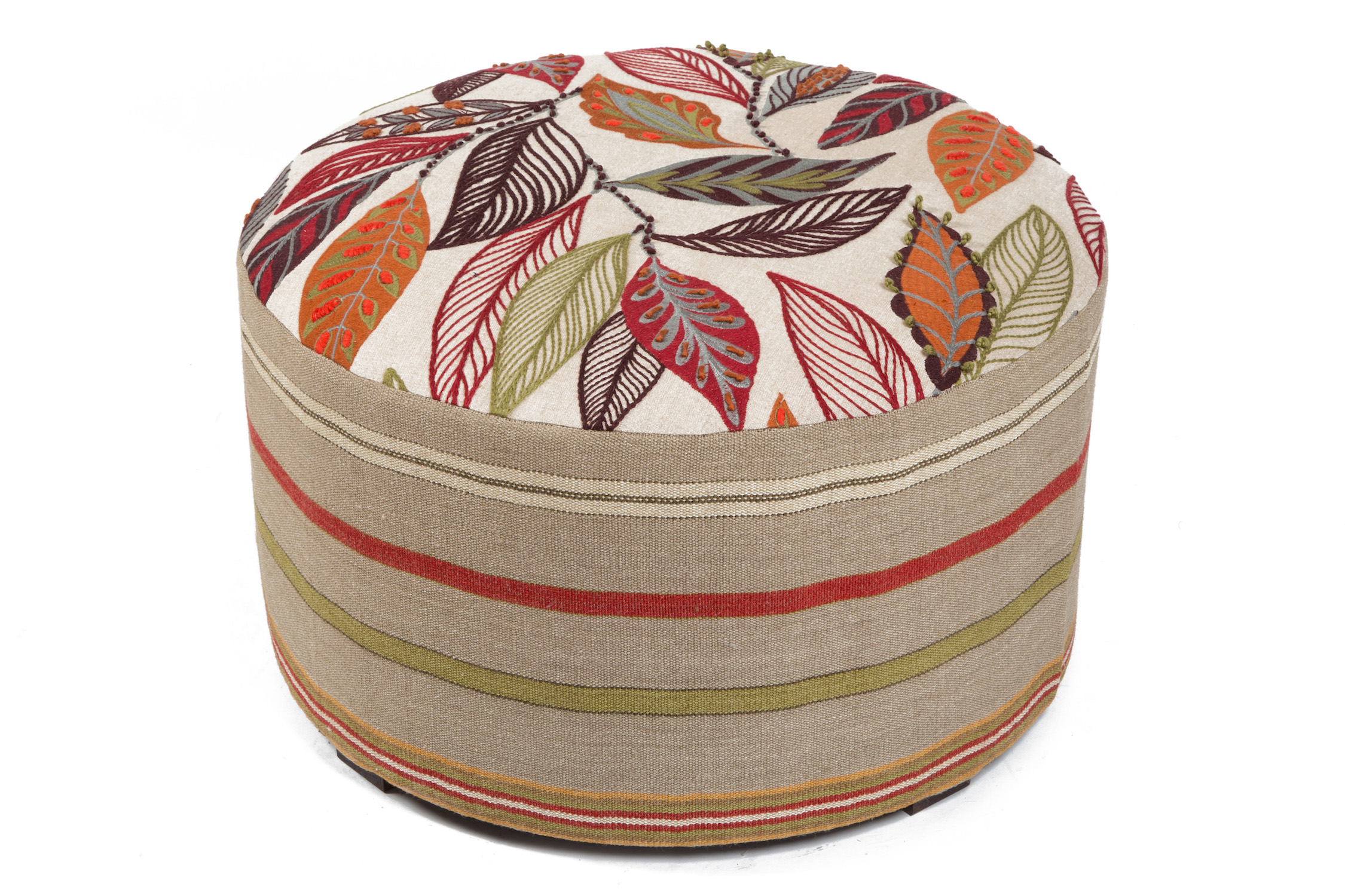 Round Bordered Pouffe with Block Feet