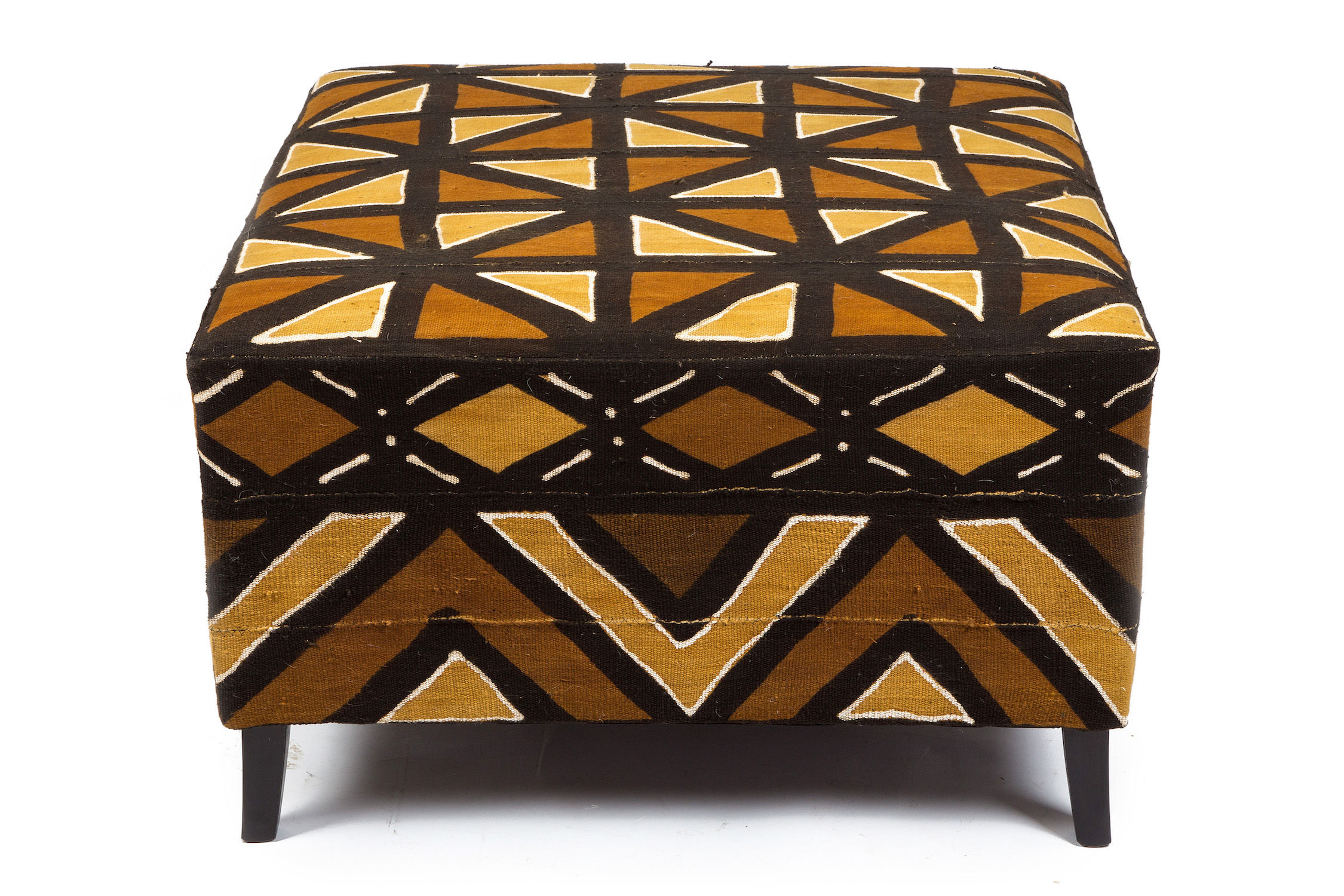 Mudcloth Footstool with Stitched Borderwork and Black Sabre Legs