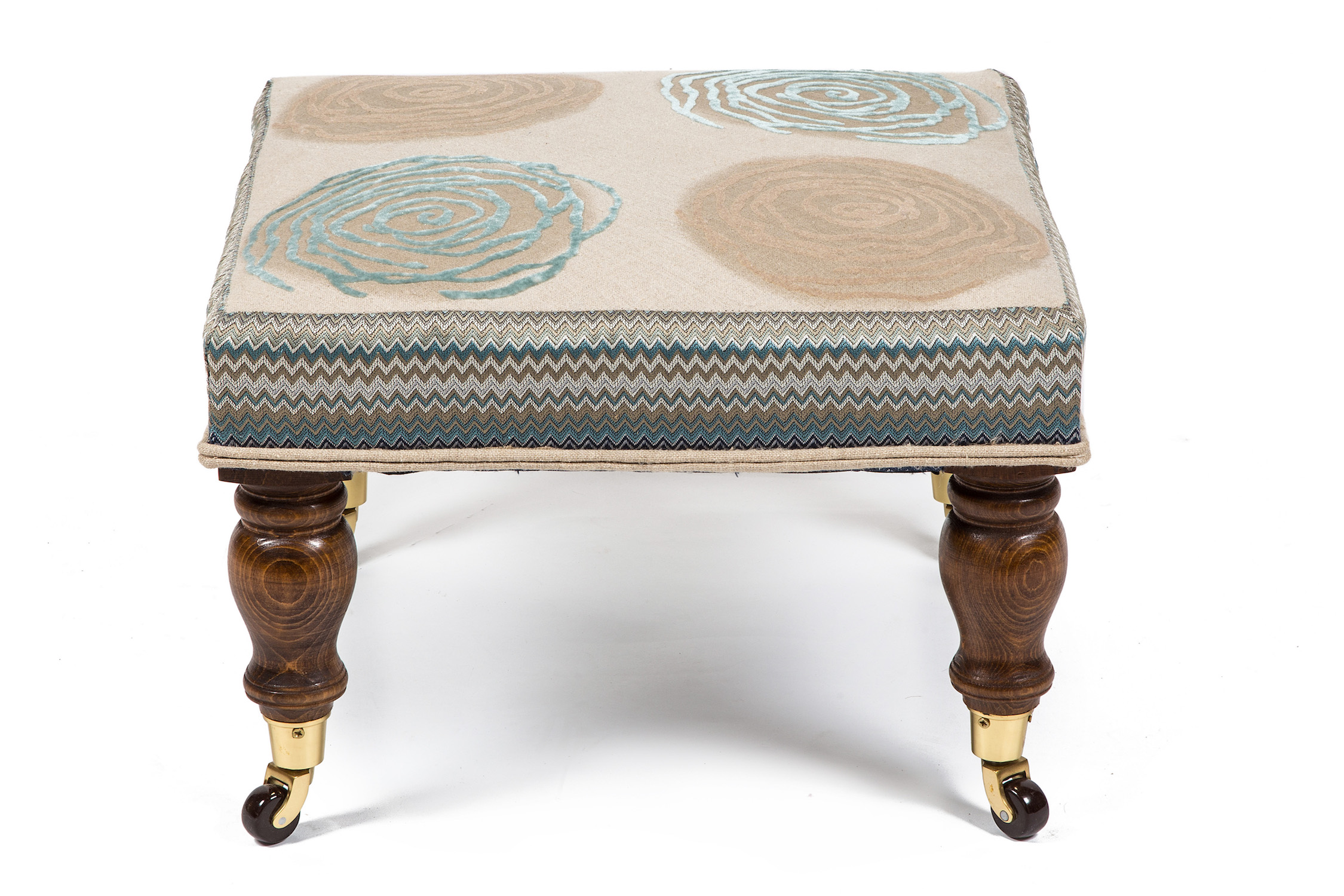 Square Bordered Footstool with Turned Legs and Castors