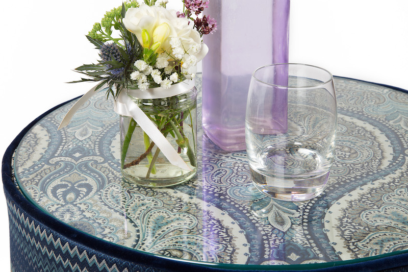 Glass Top Upholstered Table Stool