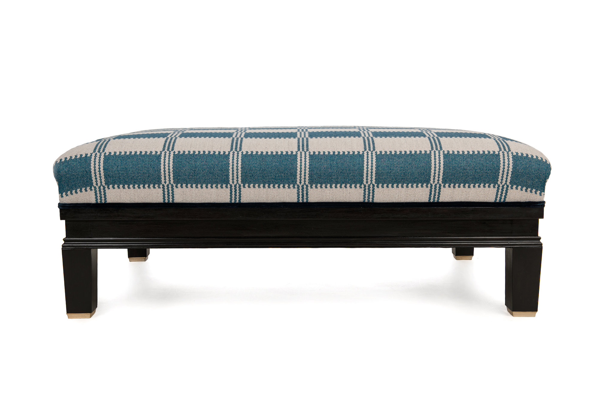 Black Polished Show-wood Footstool with Brass Embellishment