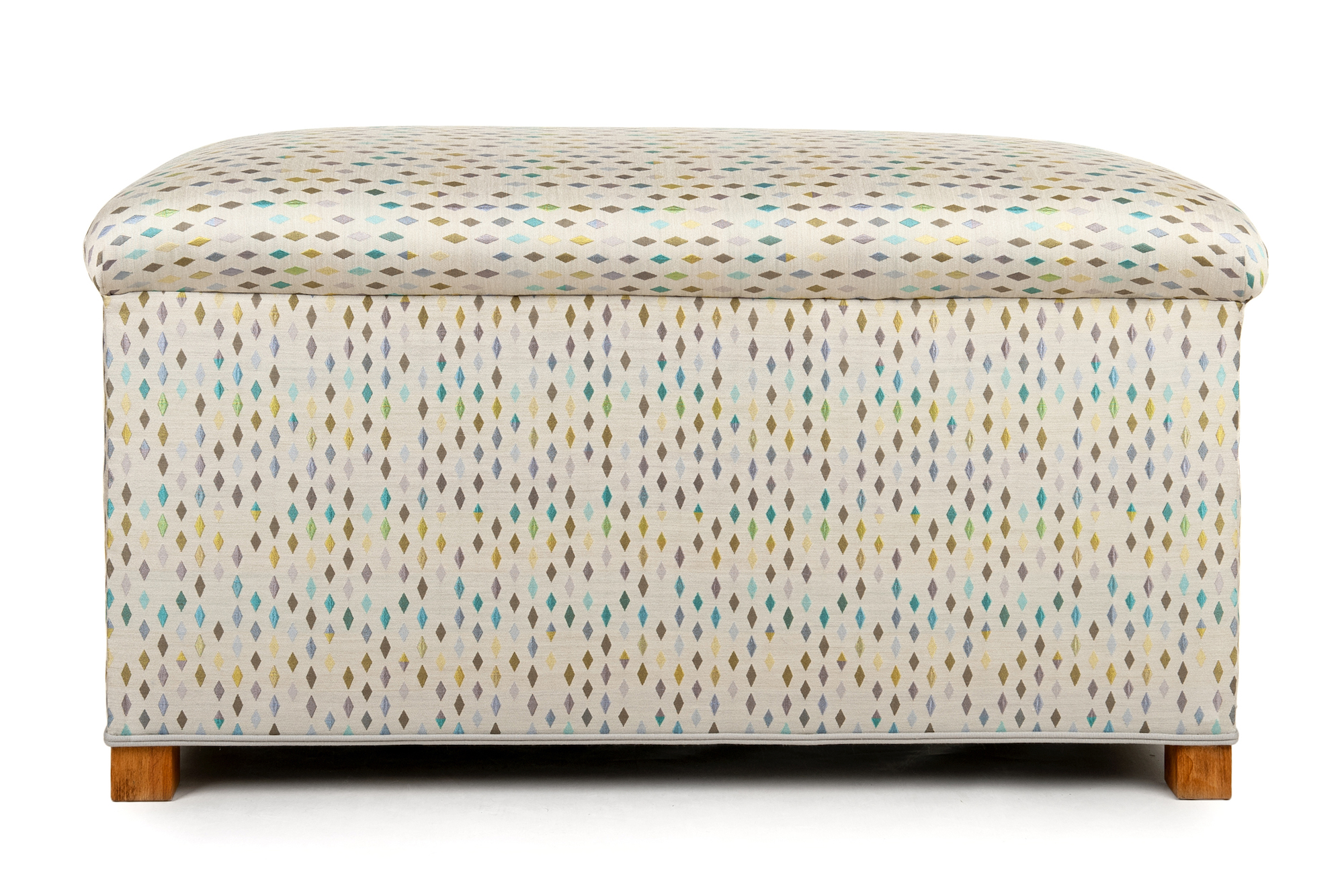 Bedroom Ottoman with Double Piping Trim