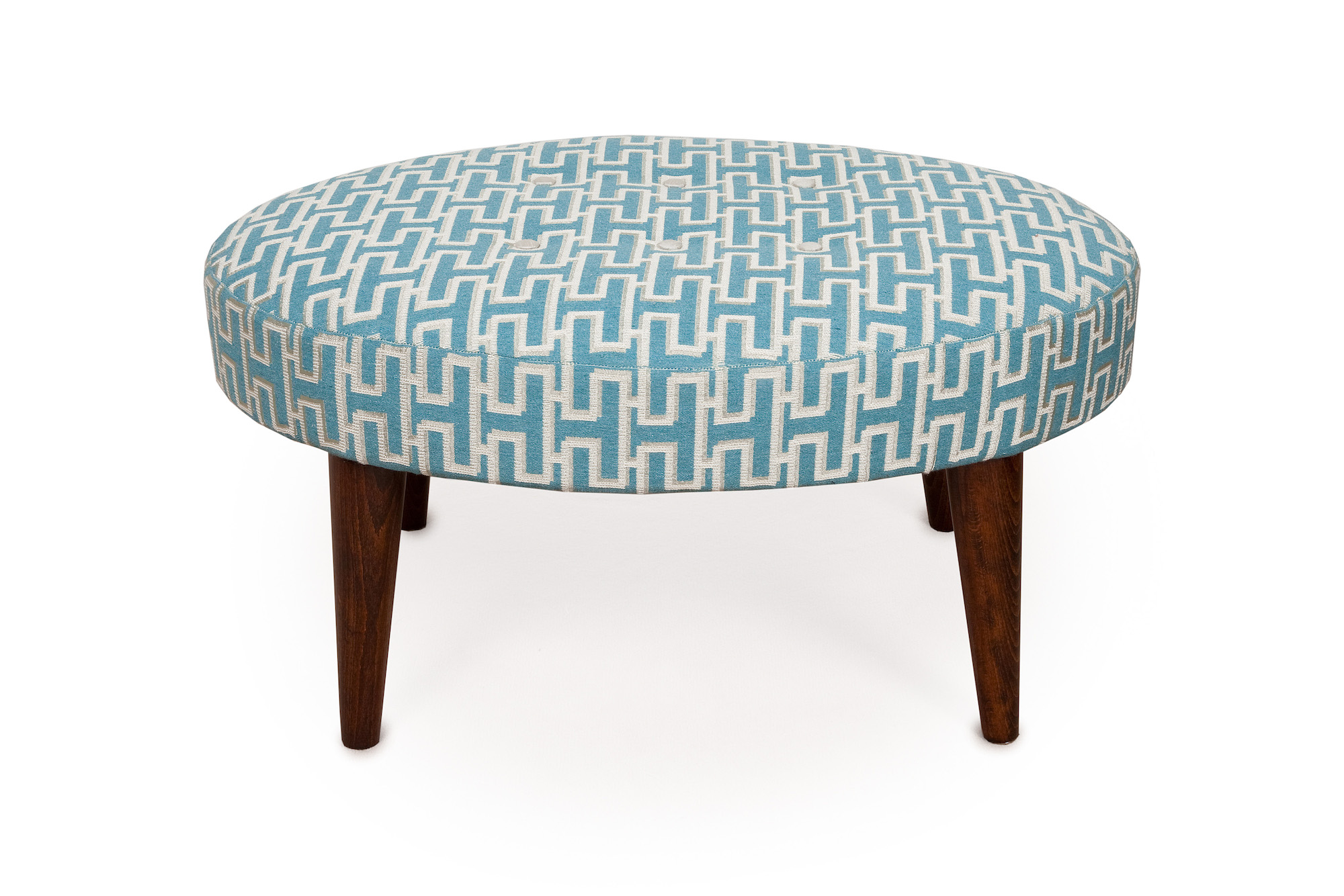 Oval Geometric  Bordered Footstool with Tapered Legs