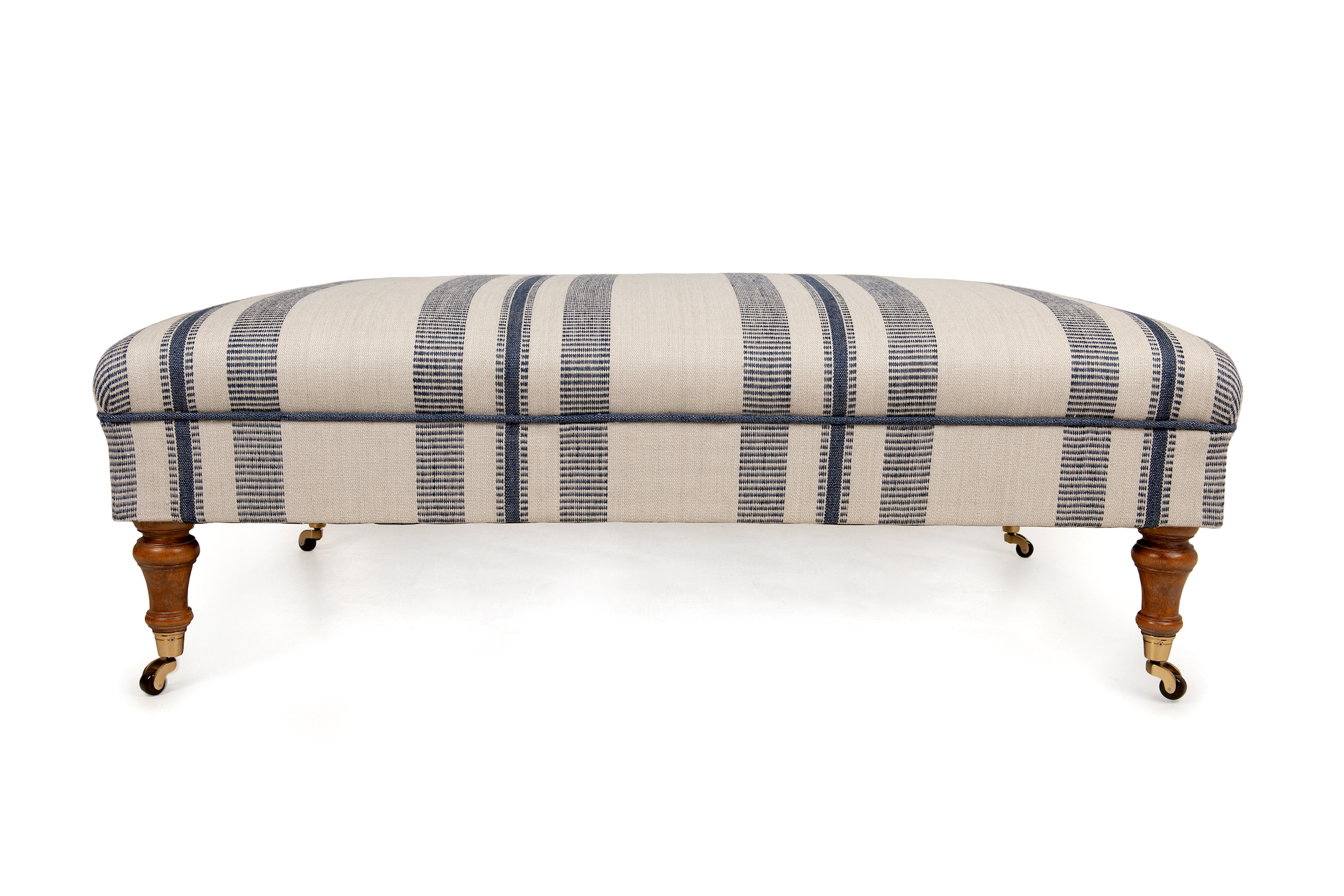 Vertical Stripe Roll Top Footstool, with Edging Fabric Band Trim and Turned Legs with Castors