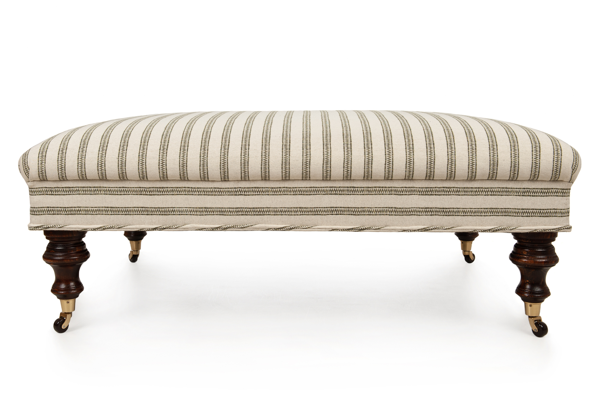 Ticking Footstool with Horizontal Stripe, Turned Legs and Castors