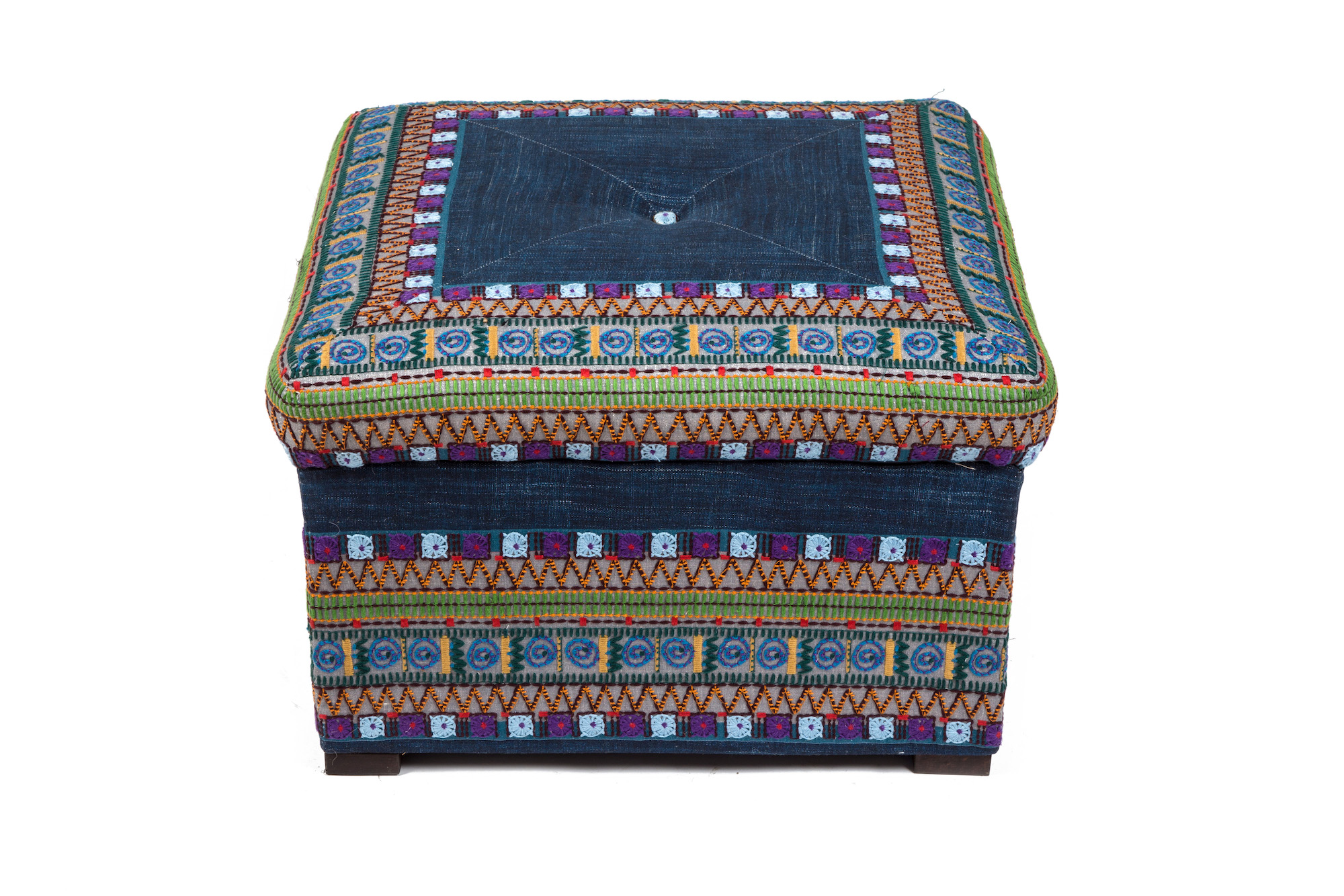 Moroccan Style Pouffe with Mitred Top and Button