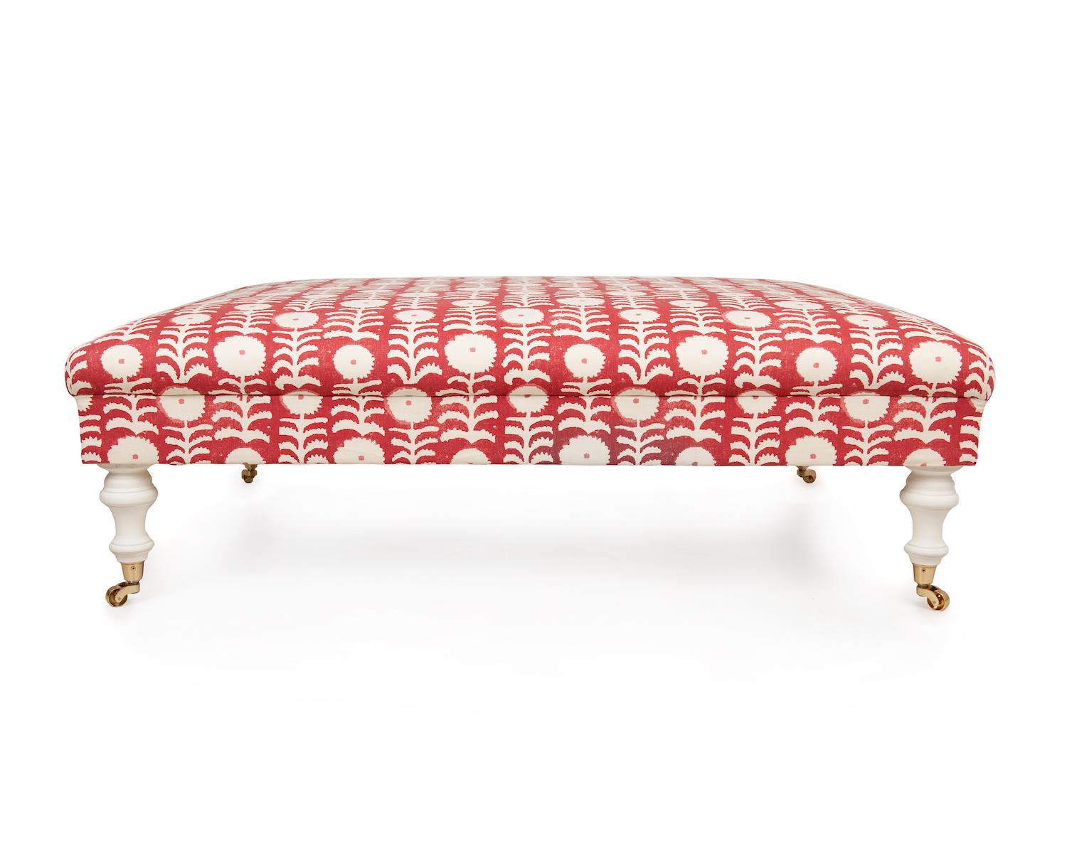 Roll Top Footstool with Simple Gimp Pin Embellishment,  White Painted Legs & Solid Brass Castors