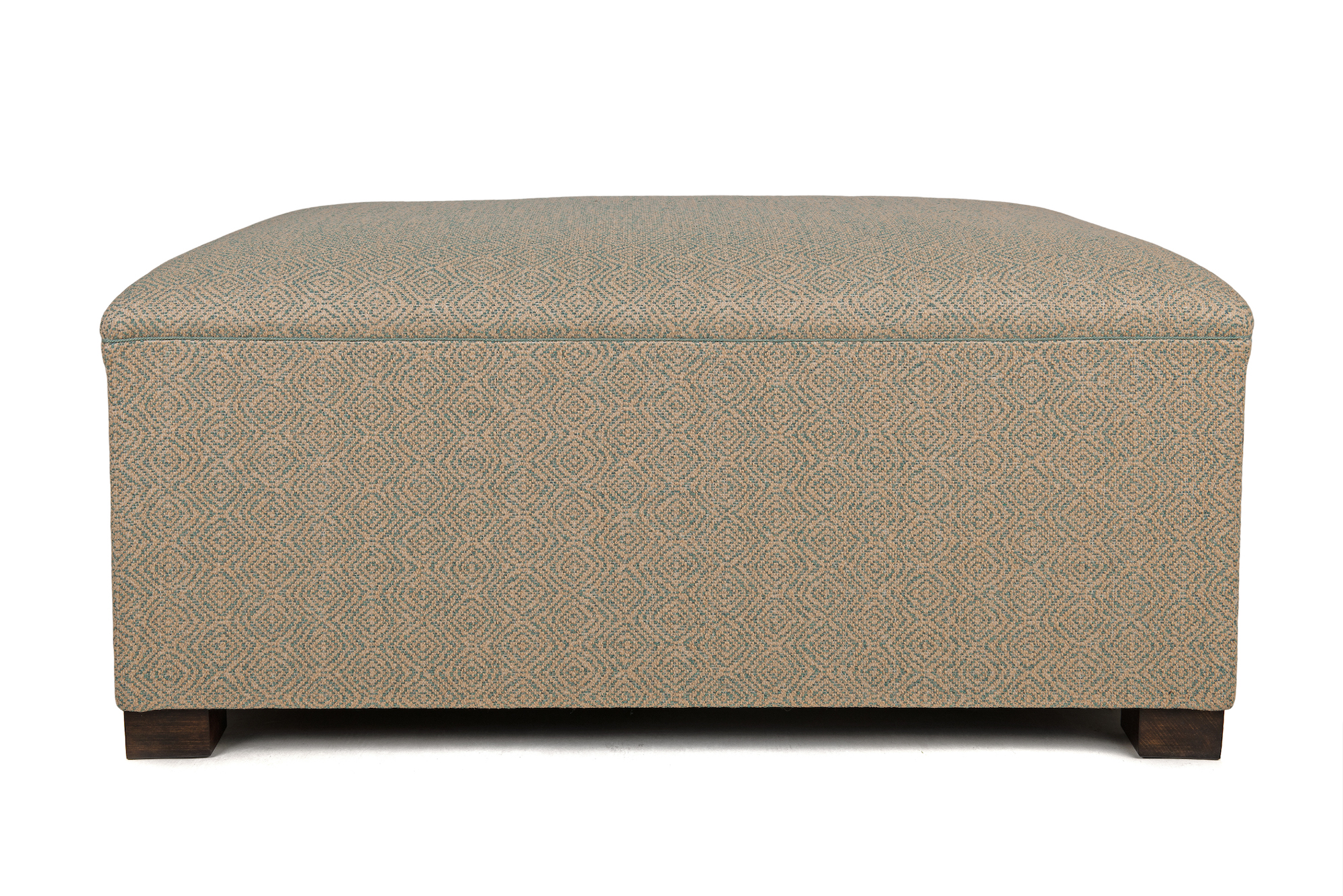 Deep Bordered Slender Roll Top Ottoman with Delicate Piping Trim