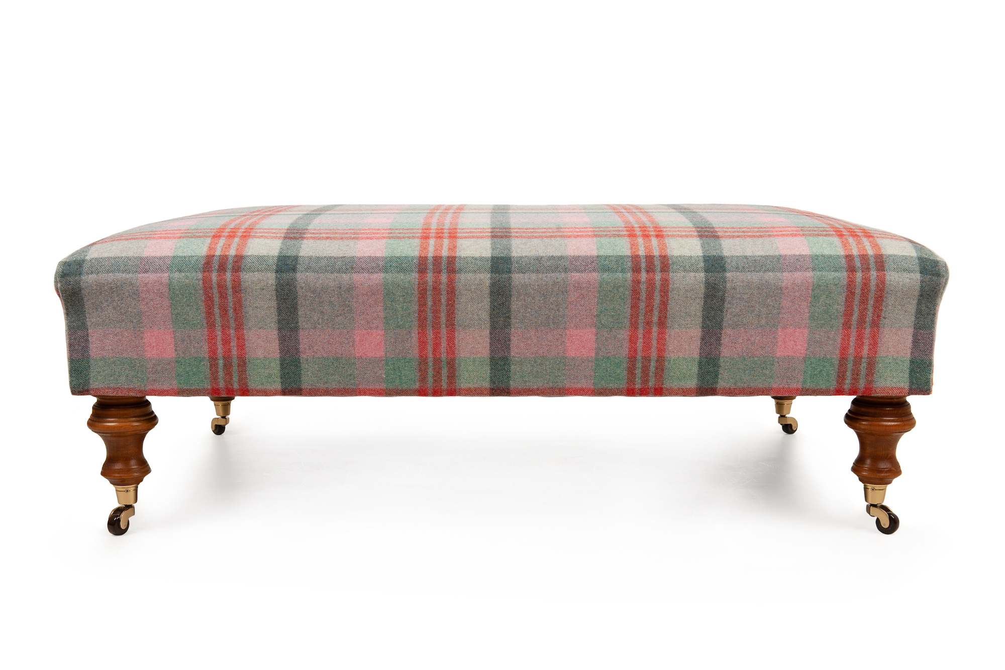 Traditional Wool Plaid Footstool with Turned Legs and Castors
